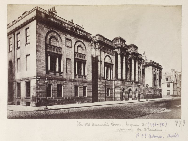 Page 27V/2	General view of Old Assembly Rooms, Glasgow. Titled 'The Old Assembly Rooms, Ingram St. (1796-98) afterwards the Athenaeum  979  R & J Adams Archt' PHOTOGRAPH ALBUM NO 146: THE THOMAS ANNAN ALBUM