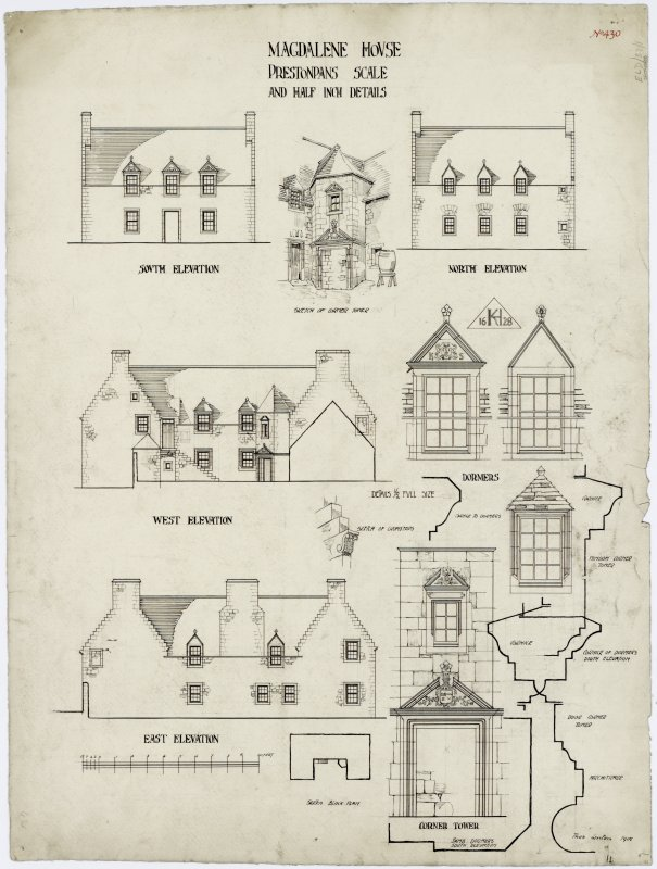 Elevations, details and plan. Titled: 'Magdalene House, Prestonpans. Scale and Half Inch details'.