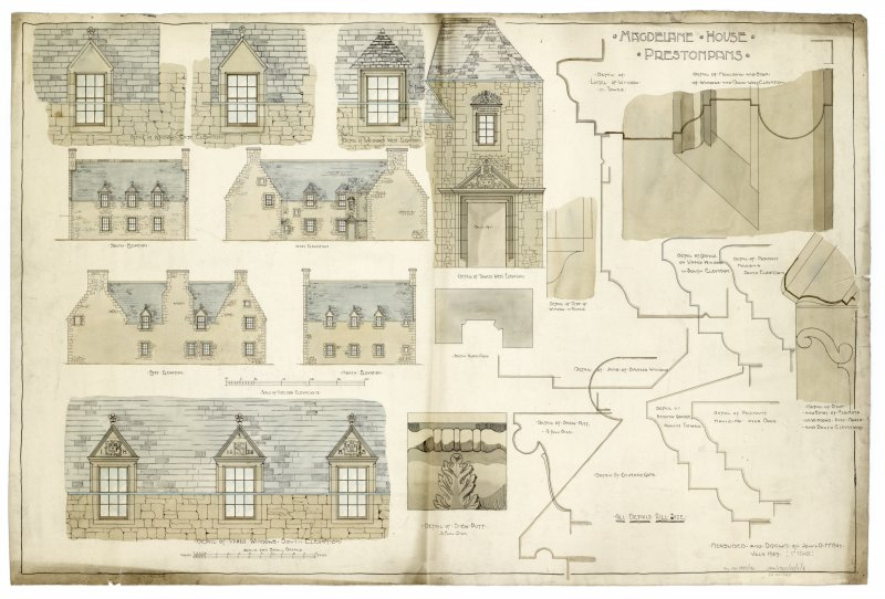 Drawing showing details and elevations Titled: 'Magdelane House, Prestonpans'.  Student drawing.
