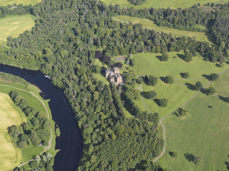 Oblique aerial view of Beaufort Castle and grounds, looking to the ESE.