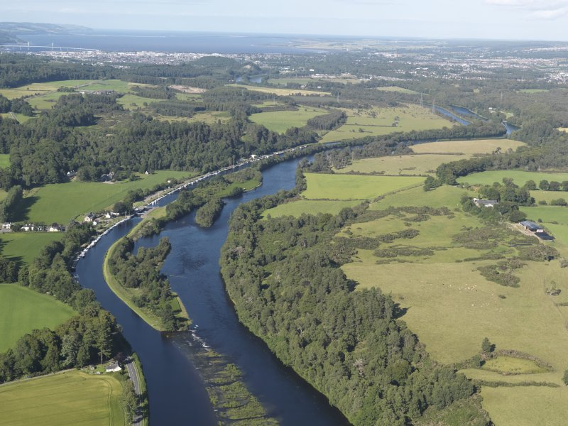 General oblique aerial view of the Caledonian Canal at Dochgarroch, looking to the NE.