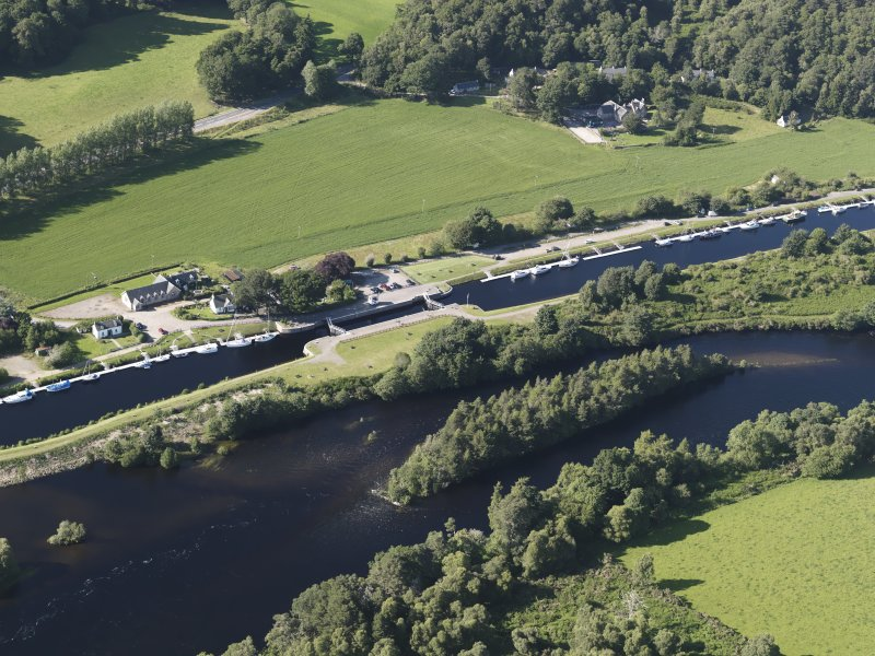 Oblique aerial view of the Caledonian Canal at Dochgarroch, looking to the NNW.