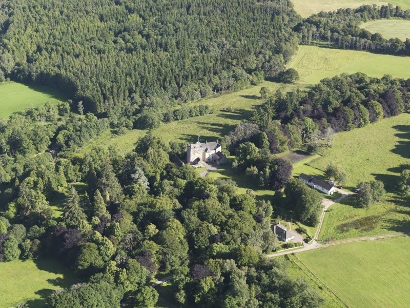 General oblique aerial view of Kilravock Castle and grounds, looking to the SSE.