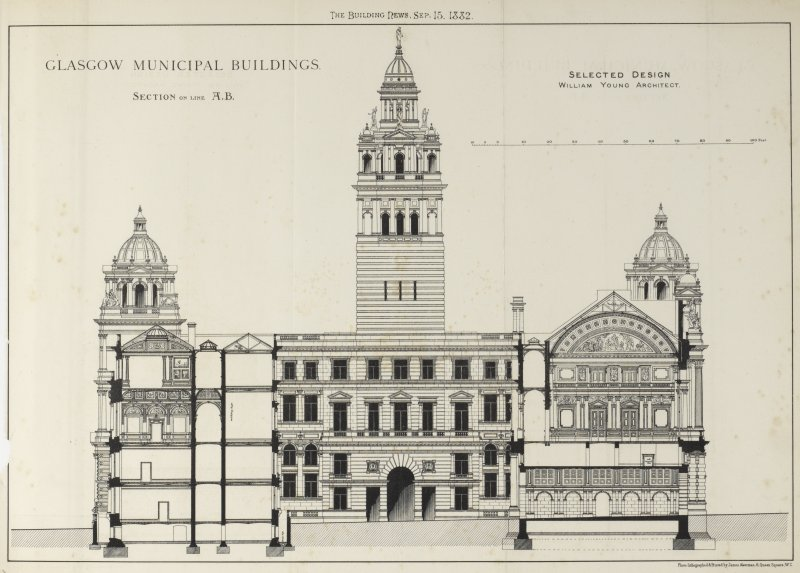 Glasgow City Chambers Elevation and section from The Building News Titled: 'The Building News, Sep. 15, 1882'  'Glasgow Municipal Buildings.  Section on line A.B.  Selected Design  William Young Architect.'  'Photo-Lithographed & Printed by James Akerman, 6 Queen Square, W.C.'