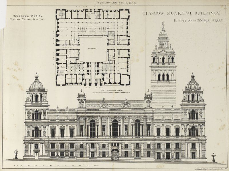 Glasgow City Chambers Elevation and ground floor plan from The Building News Titled: 'The Building News, Sep. 15, 1882'  'Glasgow Municipal Buildings  Elevation to George Street.  Selected Design  William Young Architect.'  'Photo-Lithographed & Printed by James Akerman, 6 Queen Square, W.C.'