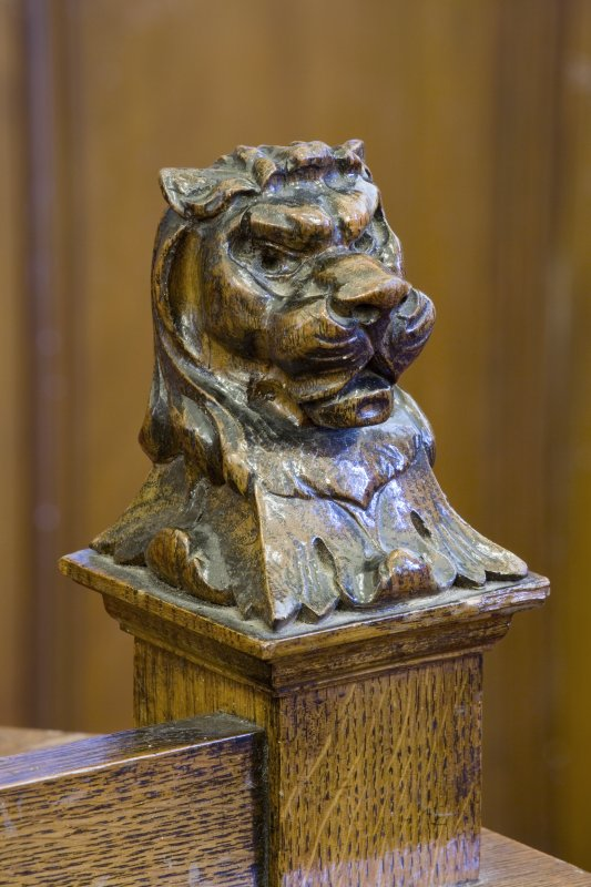 Detail of decorative carving to the Provost's desk in the Council Chamber on the first floor of Clydebank Town Hall and Municipal buildings, Clydebank.