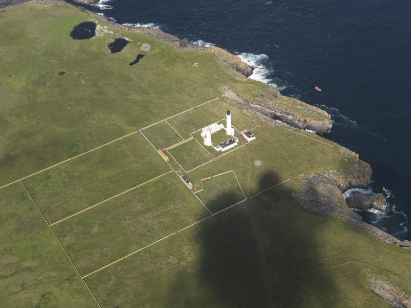 Oblique aerial view of the Muckle Skerry lighthouse, taken from the ESE.