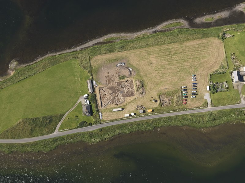 Oblique aerial view of the excavations at the Ness of Brodgar, taken from the NE.