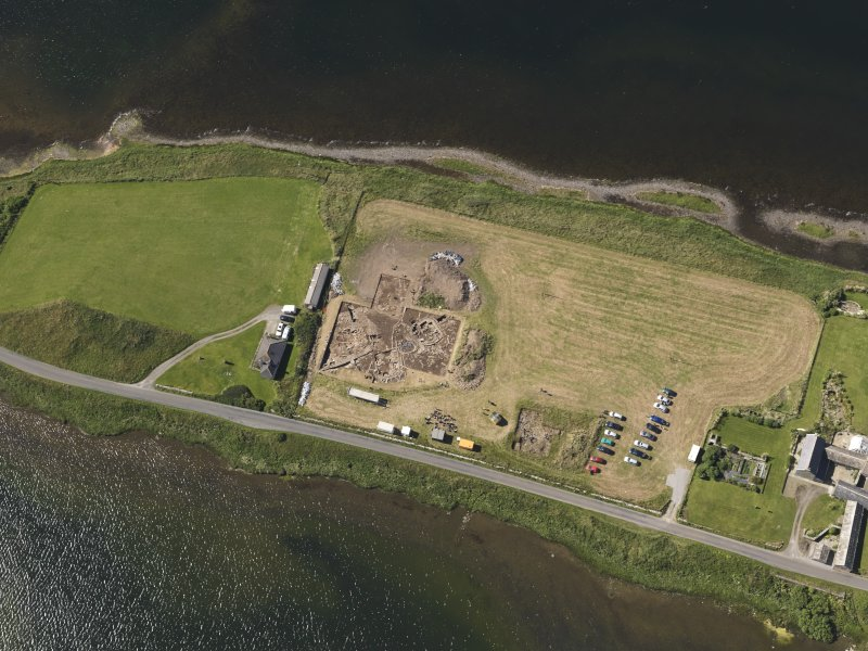 Oblique aerial view of the excavations at the Ness of Brodgar, taken from the NNE.