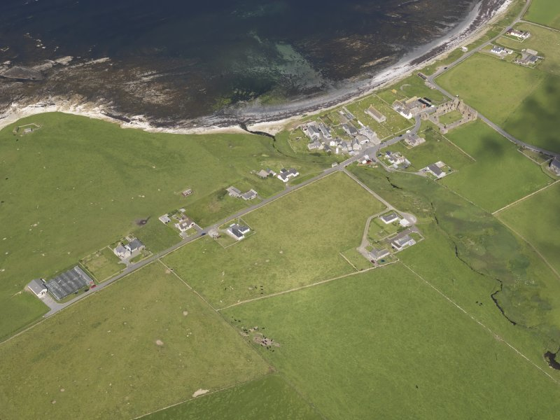 Oblique aerial view of Birsay village, taken from the SE.