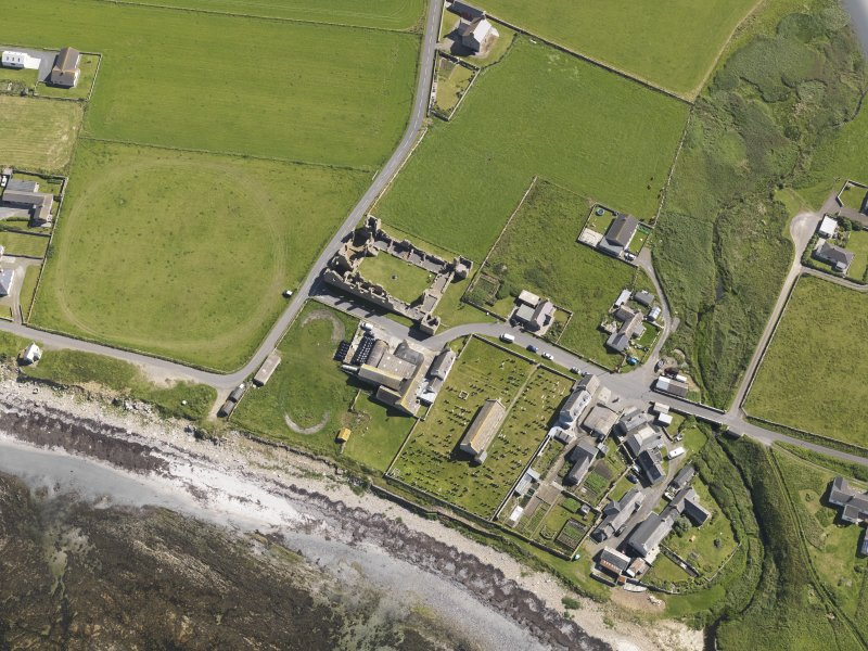 Oblique aerial view of of the Earl's Palace at Birsay, taken from the WSW.