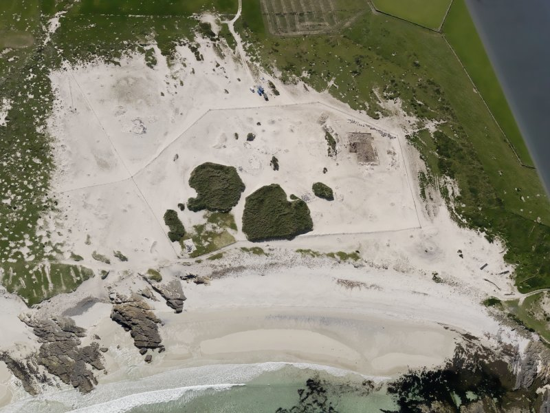 Oblique aerial view of the excavations at the Links of Noltland, taken from the N.