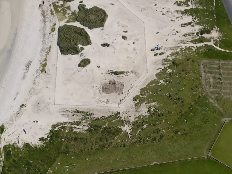 Oblique aerial view of the excavations at the Links of Noltland, taken from the W.