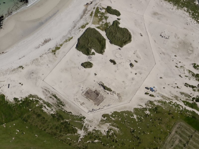 Oblique aerial view of the excavations at the Links of Noltland, taken from the  WSW.