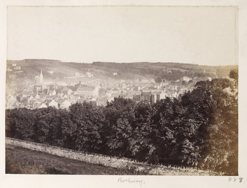 Page 30/2 General view from Chapel Hill [NS 0839 6482], Rothesay, from the NW. Titled 'Rothesay' PHOTOGRAPH ALBUM No. 146: THE THOMAS ANNAN ALBUM.