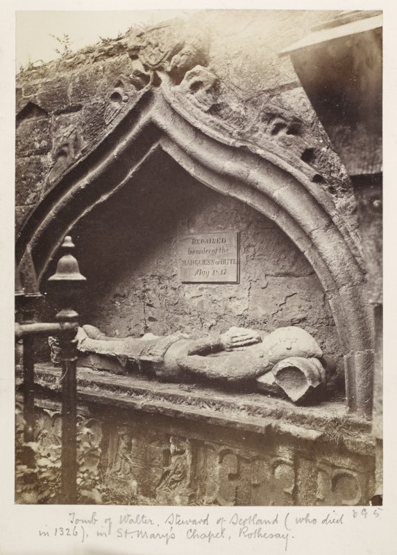 Page 31/3 Rothesay, detail view of tomb of Walter, Steward of Scotland (d.1326). Titled 'Tomb of Walter, Steward of Scotland, who died in 1326) in St Mary's Chapel, Rothesay.' PHOTOGRAPH ALBUM No.146: The Annan Album.