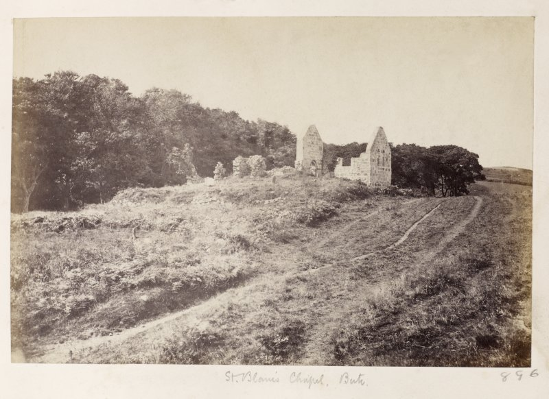Page 31/4 General view ofSt Blane's Chapel, Rothesay and unkempt burial ground before restoration work, taken from the SE. Titled 'St Blane's Chapel, Bute.' PHOTOGRAPH ALBUM No. 146: THE THOMAS ANNAN ALBUM.