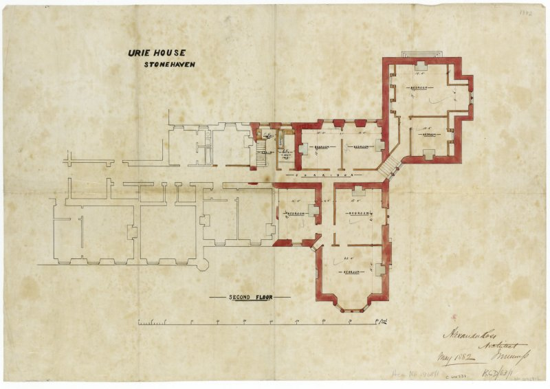 Plan of Ury House showing part of the second floor.