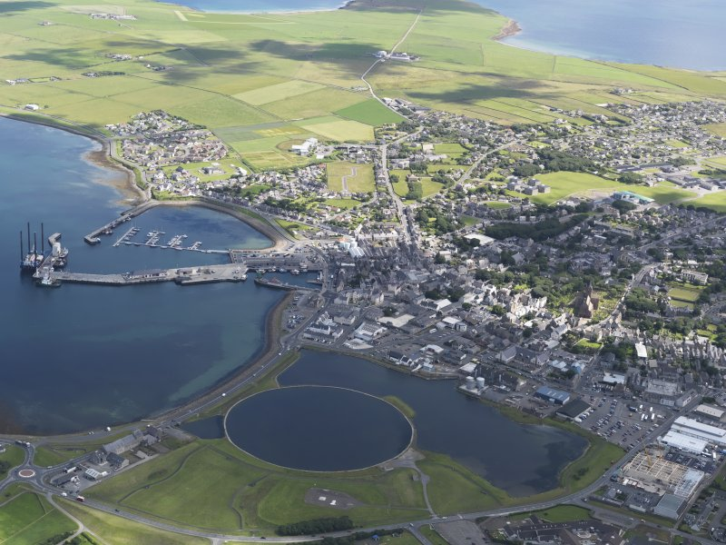 General oblique aerial view of Kirkwall, taken from the W.
