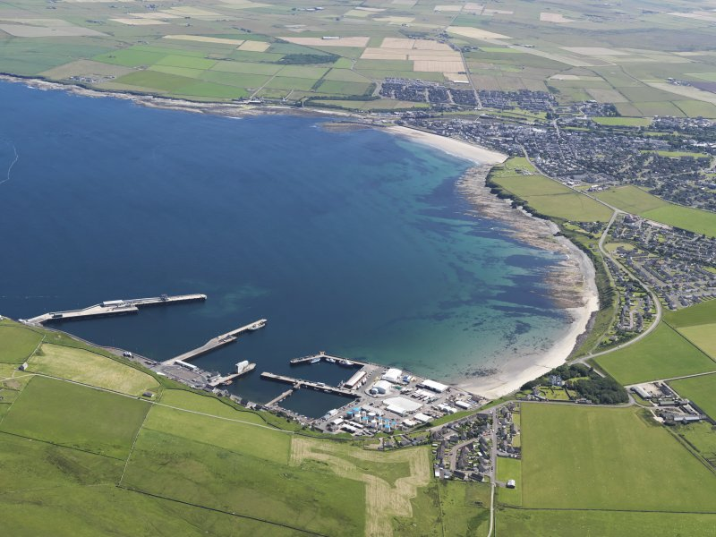 General oblique aerial view of Thurso looking across the bay with Scrabster in the foreground, taken from the WNW.