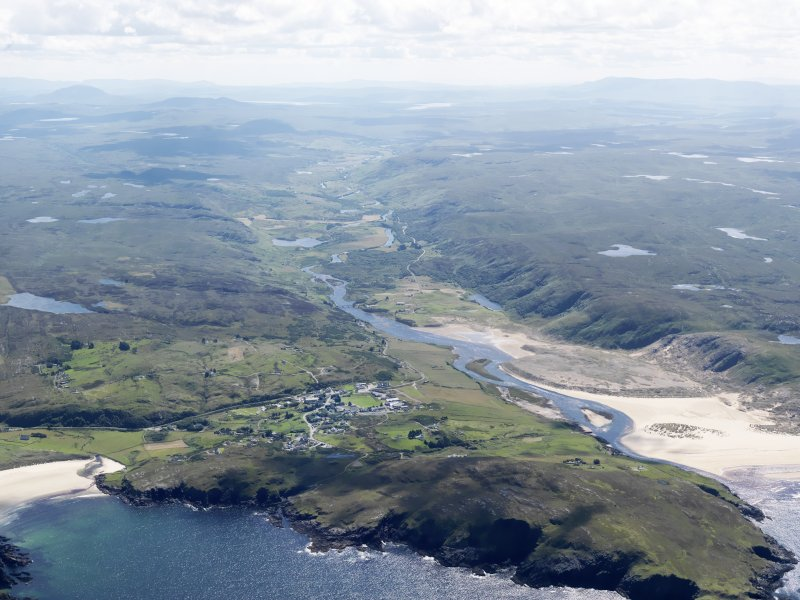 General oblique aerial view of Bettyhill and Torrisdale Bay, taken from the NNE.