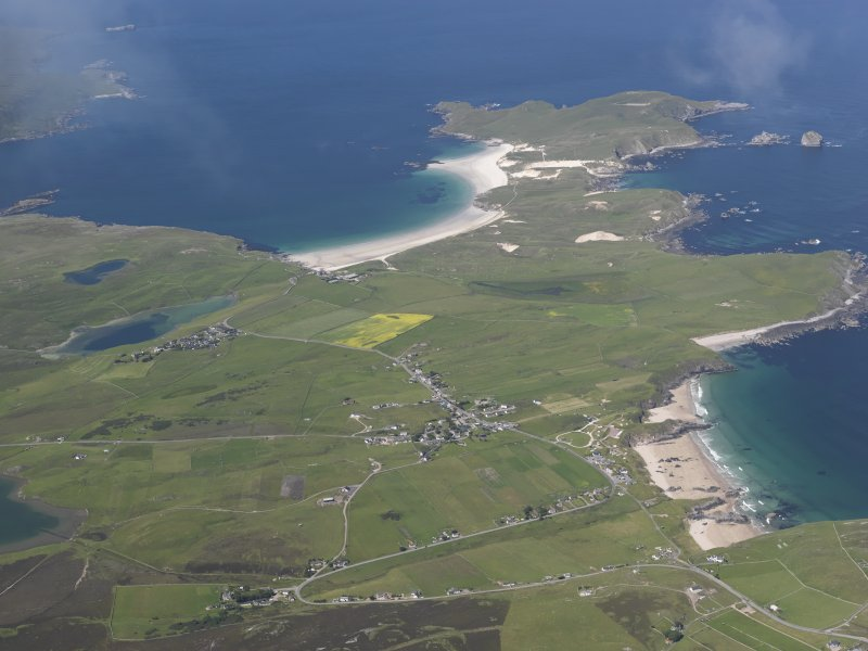 General oblique aerial view looking across Durness and Balnakeil towards An Fharaid, taken from the SSE.