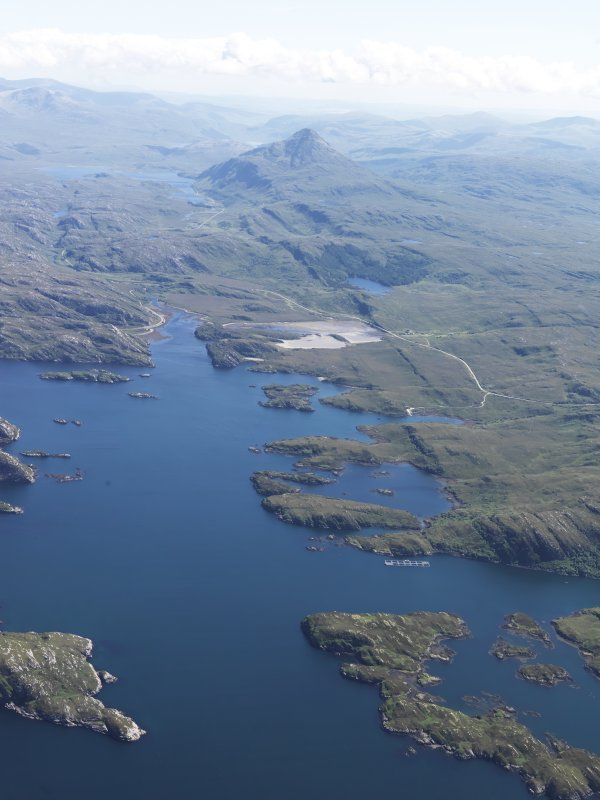 General oblique aerial view of Loch Laxford with Ben Stack beyond, taken from the WNW.