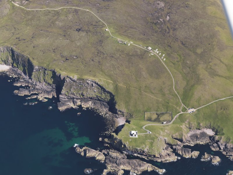 Oblique aerial view of the Stoer Head lighthouse, taken from the W.
