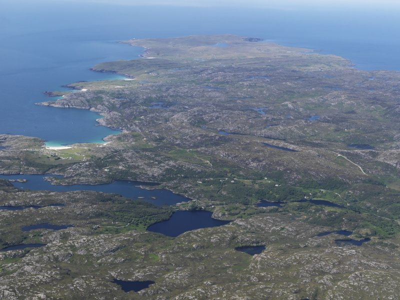 General oblique aerial view looking towards Achmelvich with the Point of Stoer in the far distance, taken from the S.
