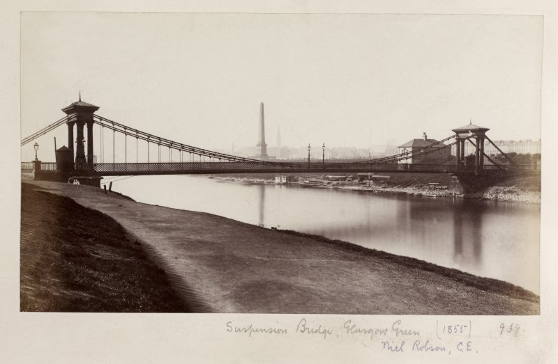Page 33V/6 Glasgow, General view of St. Andrew's Suspension Bridge. Titled: 'Suspension Bridge, Glasgow Green, 1855,  Niel Robson. PHOTOGRAPH ALBUM NO.146: THE ANNAN ALBUM.