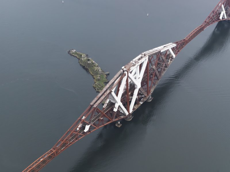 Oblique aerial view of the Forth Railway Bridge and Inch Garvie island, looking to the SE.