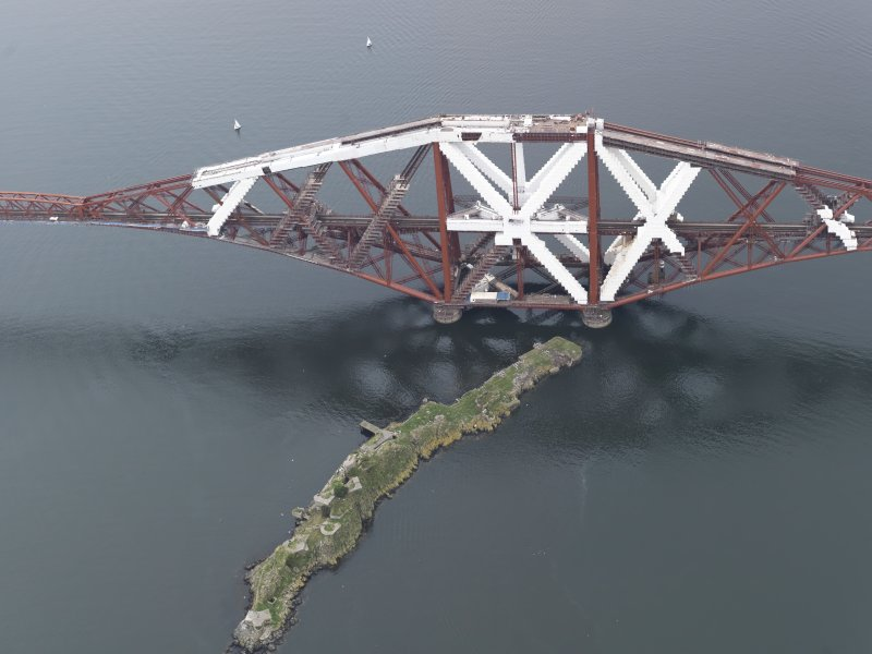 Oblique aerial view of the Forth Railway Bridge and Inch Garvie island, looking to the WSW.