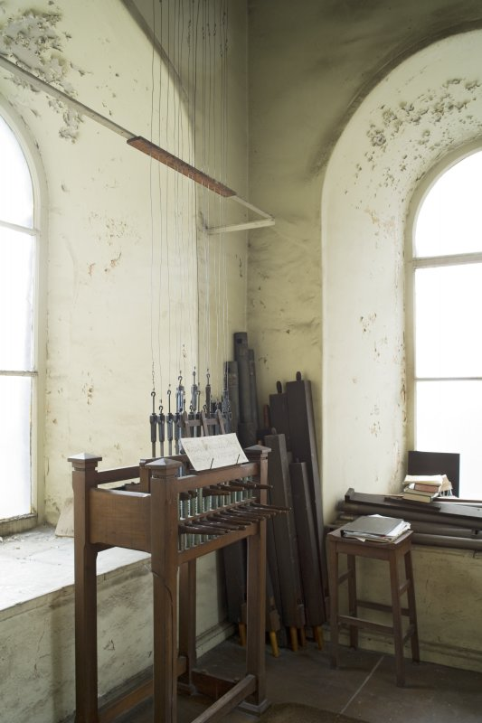 Interior. Belfry room (off gallery), view from N showing carillon
