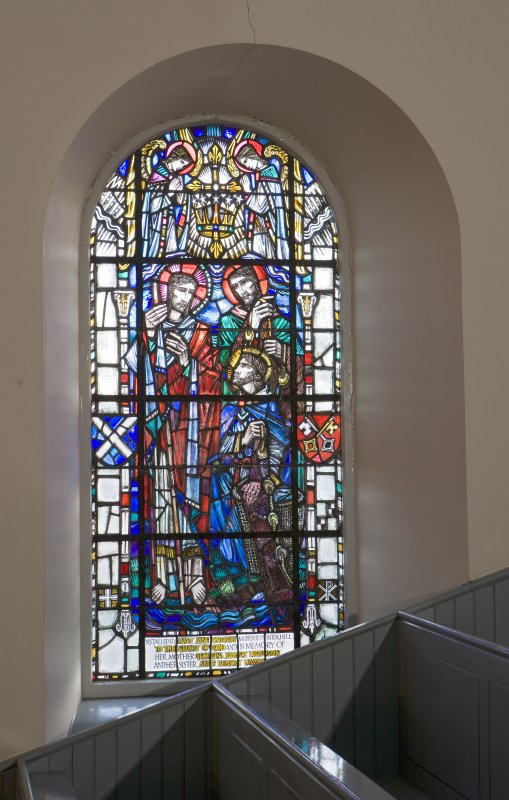 Interior. Gallery level, view of stained glass window