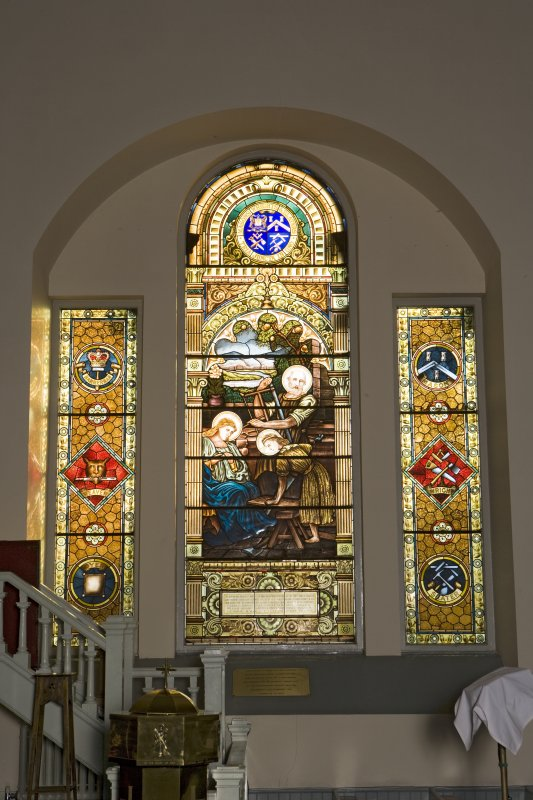 Interior. Ground floor, E wall, view of stained glass window