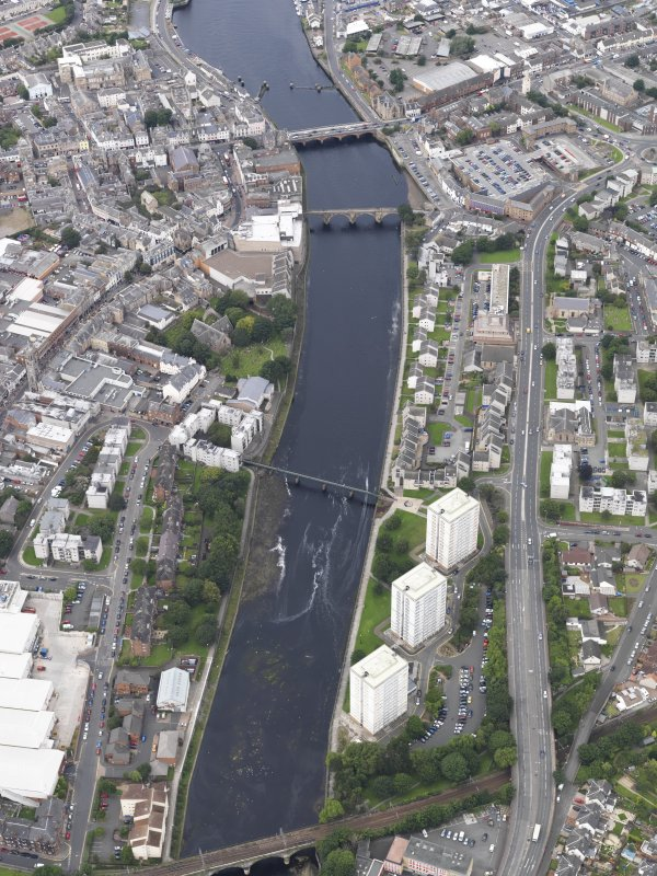 Oblique aerial view of Ayr Town centre, looking NW.