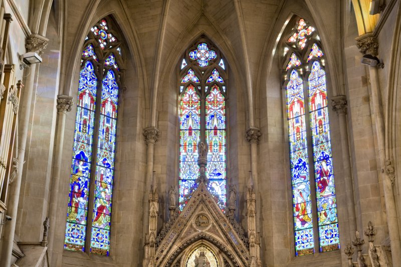 Interior. Chancel. Stained glass windows. Detail