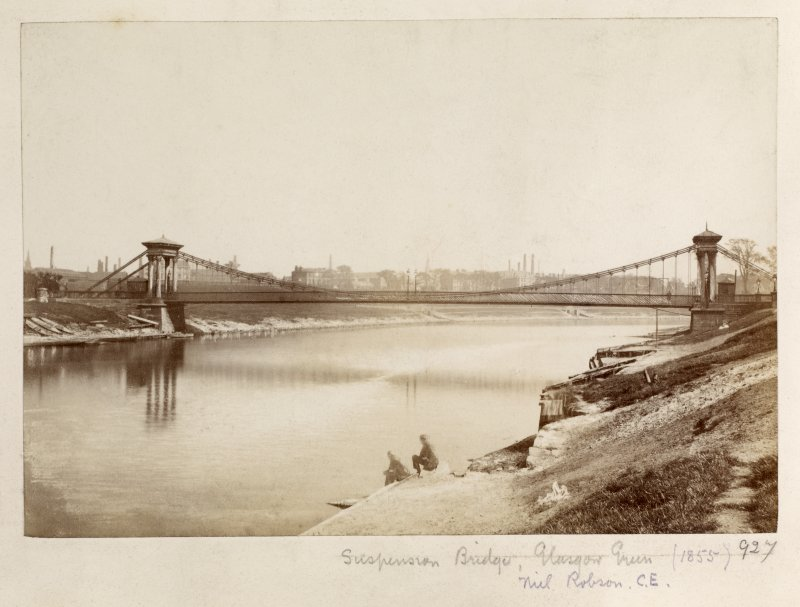 Page 35v/6 General view of St Andrew's Suspension Bridge, Glasgow. Titled: 'Suspension Bridge, Glasgow Green, (1855), Neil Robson C.E '. PHOTOGRAPH ALBUM NO.146: THE ANNAN ALBUM.