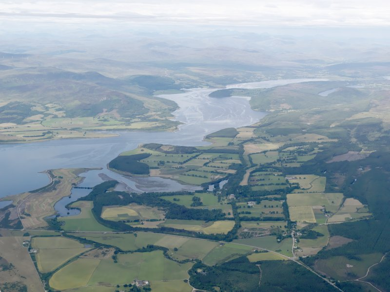 General oblique aerial view of the Dornoch Firth with Skibo Castle in the middle distance, looking W.