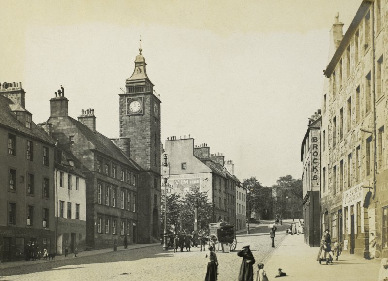 View of Broad Street, Stirling Titled: 'Broad Street & Town Hall, Stirling Sept 1905'.