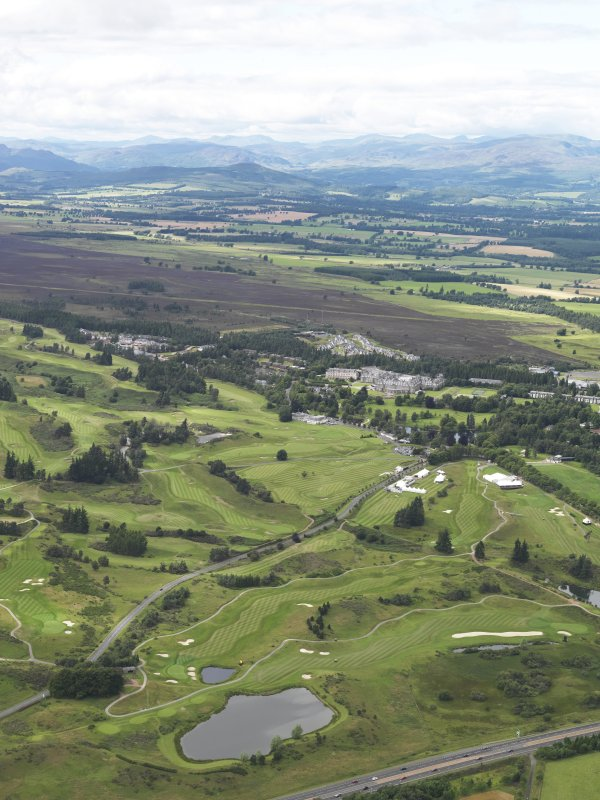 General oblique aerial view of the golf courses at Gleneagles, looking to the NW.