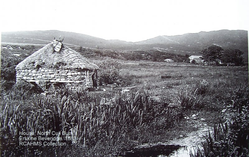 1883 Erskine Beveridge Photograph:  RCAHMS Collection:  Byre Dwelling and Barn at Greenfield Farm can be seen in the background.