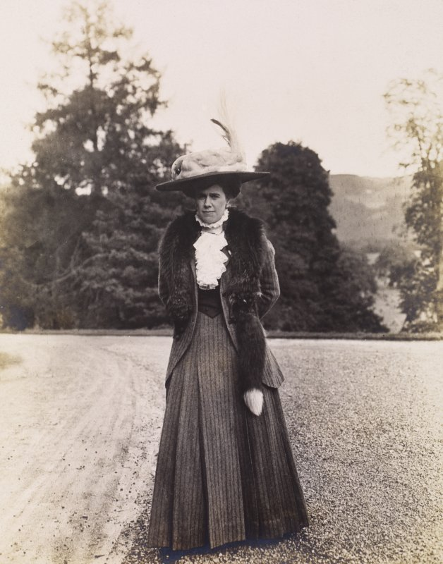 View of Cornelia Craven at Balmacaan House.  Titled: 'Myself' The album is titled: 'These photographs were all taken with my little Kodak. Cornelia Craven'.
