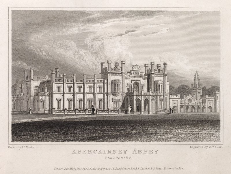 Engraving showing a general view of Abercairny Abbey.