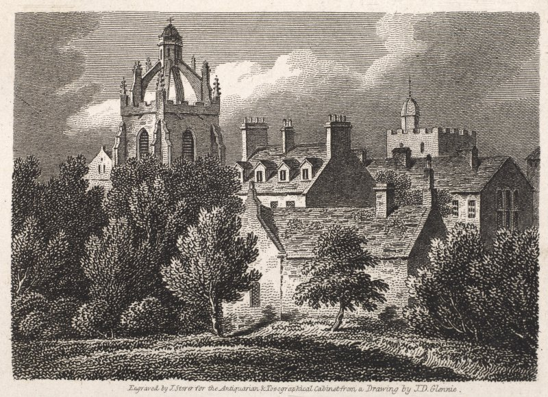 Engraving of King's College, Aberdeen, showing church tower & other buildings. Titled 'King's College, Aberdeen, Aberdeenshire. Engraved by J. Storer for the Antiquarian and Topographical Cabinet from ...