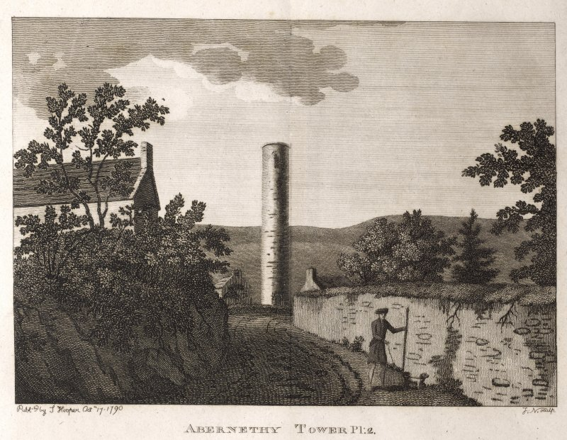 Engraving of Abernethy Round Tower & nearby house. Titled 'Abernethy Tower, Pl.2. Published by S. Hooper Oct.17. 1790. J. N. sculp.'