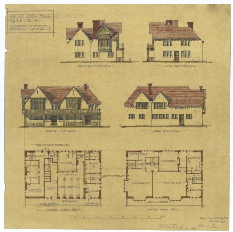 Cramond Brig Golf Club House. Plans, sections and elevations.