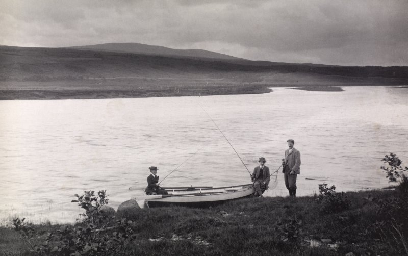 View of fishing party.  Titled: 'Inveroykel and Kyle of Sutherland'