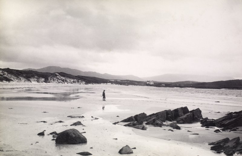 Distant view of Balnakeil House Titled: 'Balnakeil from Sands'