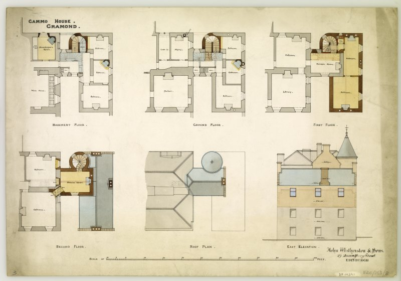 Drawing showing basement, ground, first and second floor plans, roof plan and East elevation for proposed alterations at Cammo House, Edinburgh.  Insc: 'Cammo House, Cramond' Signed: 'Johm Watherston & Son, 29, Queensferry Street, Edinburgh'